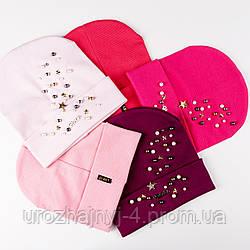 Трикотажные шапки для девочек подкладка х/б р52-54 5шт упаковка