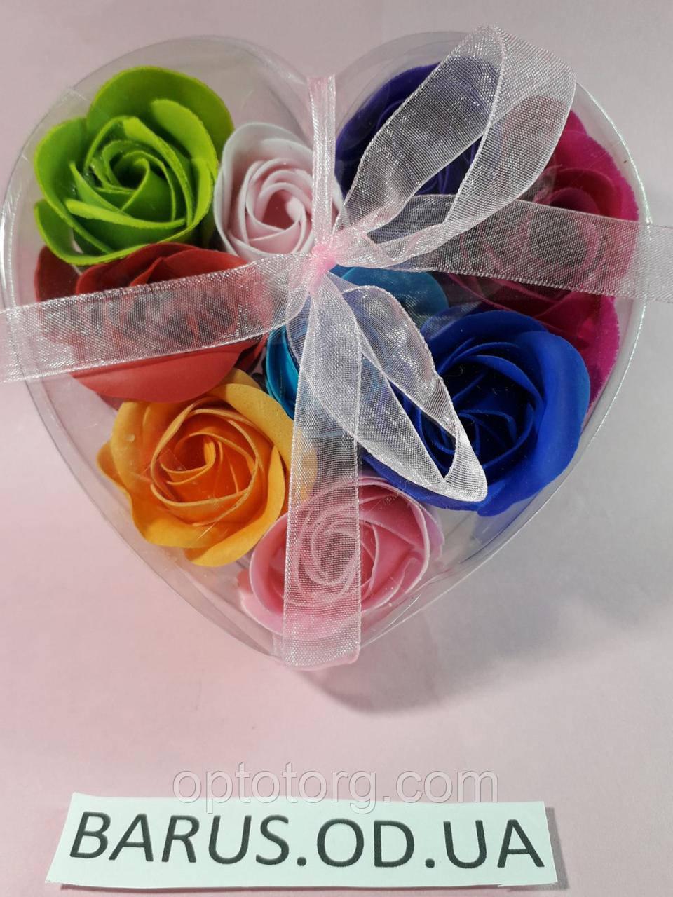 Сувенирное подарочное  мыло из лепестков  роз  9 штук  разных цветов 11,5*11,5*4 см