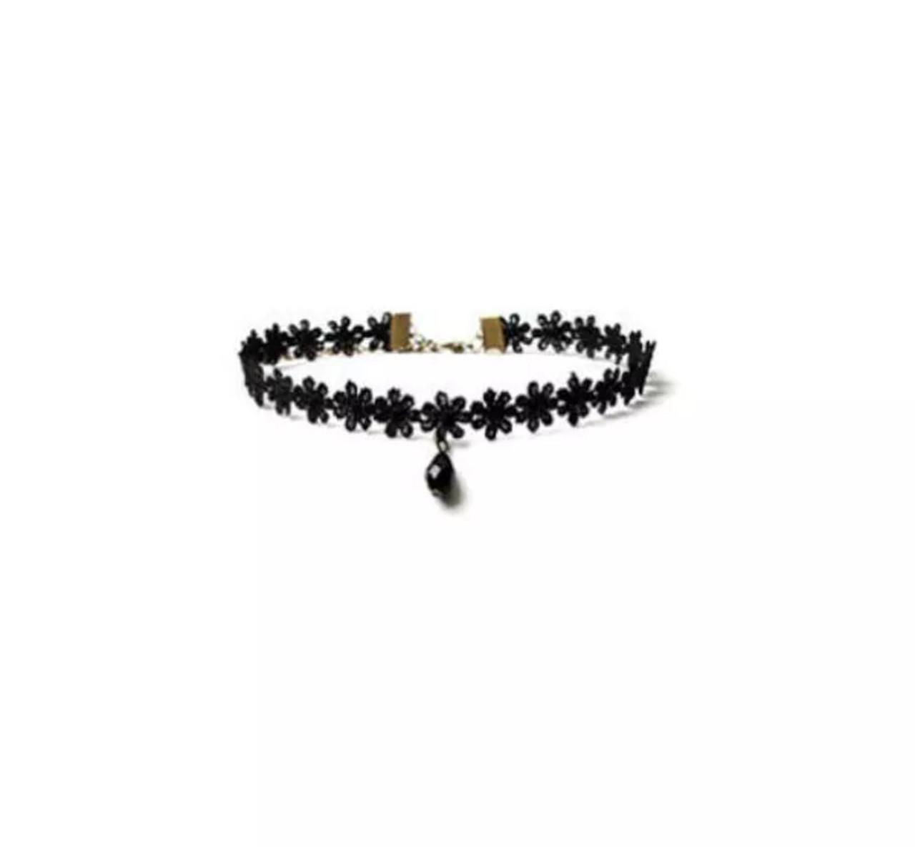 Чокер женский на шею нежный и элегантный  с подвеской/бижутерия для девушек «Flower» (черный)