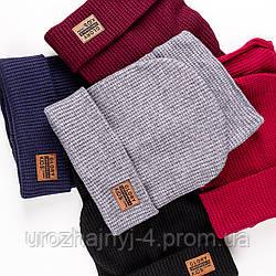 Трикотажный набор шапка и хомут на подкладке х/б р50-52 упаковка 5шт
