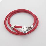 Двойной браслет из кожи и серебра с инкрустацией красный Пандора стиль, фото 2