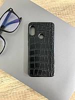 Чехол для Xiaomi Redmi 6 Pro под кожу крокодила, Black