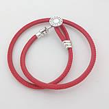 Двойной браслет из кожи и серебра с инкрустацией красный Пандора стиль, фото 3