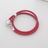 Двойной браслет из кожи и серебра с инкрустацией красный Пандора стиль, фото 4