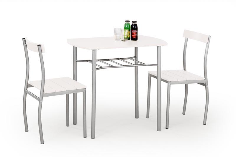 Столовый комплект  LANCE белый  ( стол+2 кресла) (Halmar)