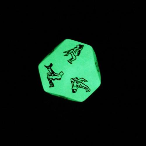 Кубик кости с позами фосфорный светится в темноте для секса и интимных игр