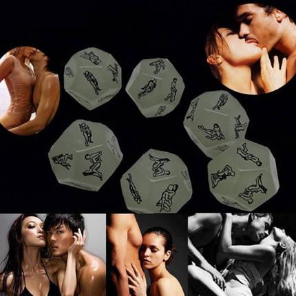 Кубик кости с позами фосфорный светится в темноте для секса и интимных игр, фото 2