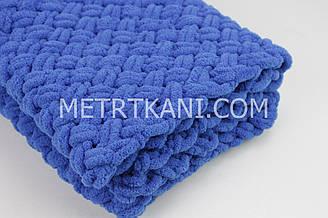 """В'язаний Плед """"Плюшевий"""" синього кольору 90/80 см №56-47"""