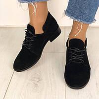 Стильные замшевые туфли женские на низком ходу черные на шнурках C29JE84-2R