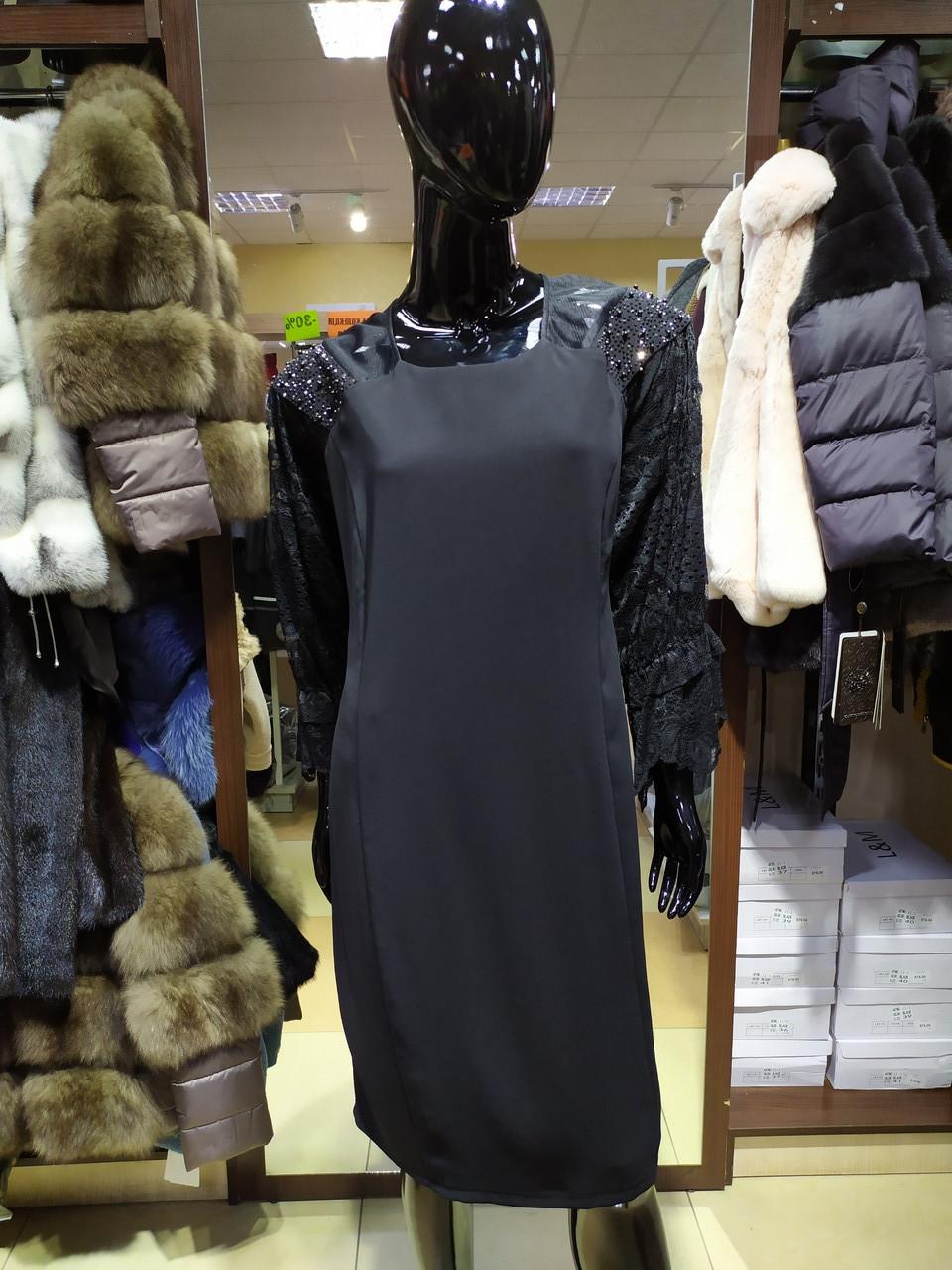 Черное платье с гипюровыми рукавами, размер 46 48 50