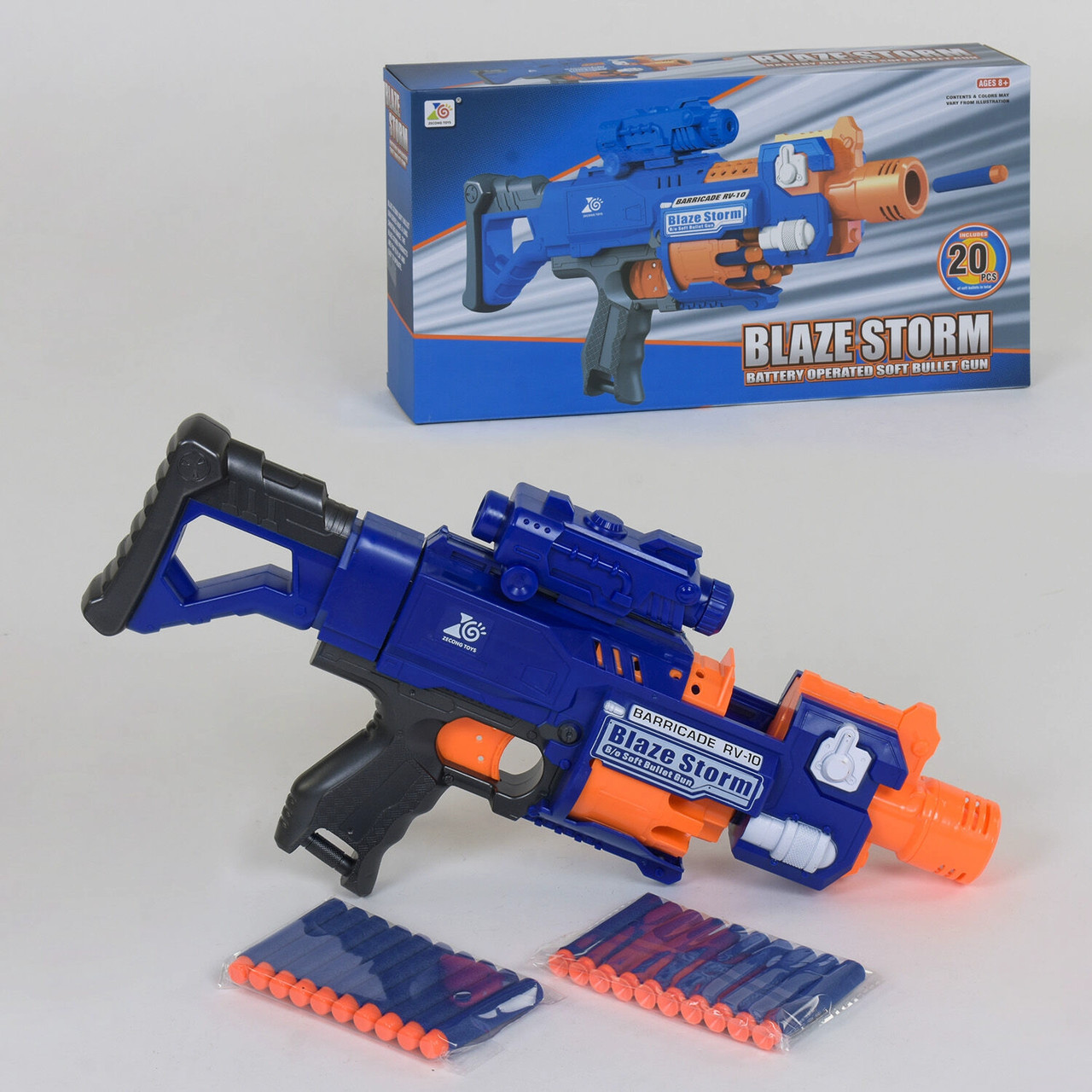 Игрушечный бластер для мальчиков 7055 с 20-ю мягкими патронами, работает от батареек, синий (длина 43 см)