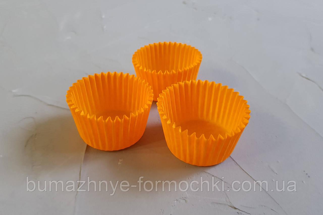 Маленькие одноразовые формочки для конфет и мини-кексов оранжевый, 30х24 мм