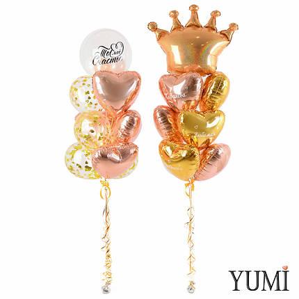 Композиция из воздушных шаров с короной и сердечками с комплиментами для любимой, фото 2