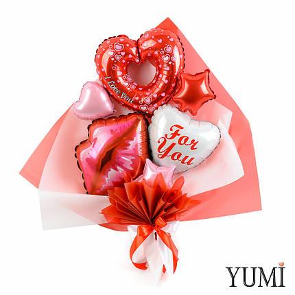 Букет из воздушных шариков сердечек For you, фото 2