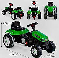 Трактор педальный 07-314 цвет КРАСНЫЙ и ЗЕЛЁНЫЙ, клаксон на руле, фото 1
