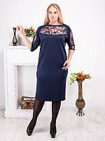 Синее платье прямого покроя для полных женщин