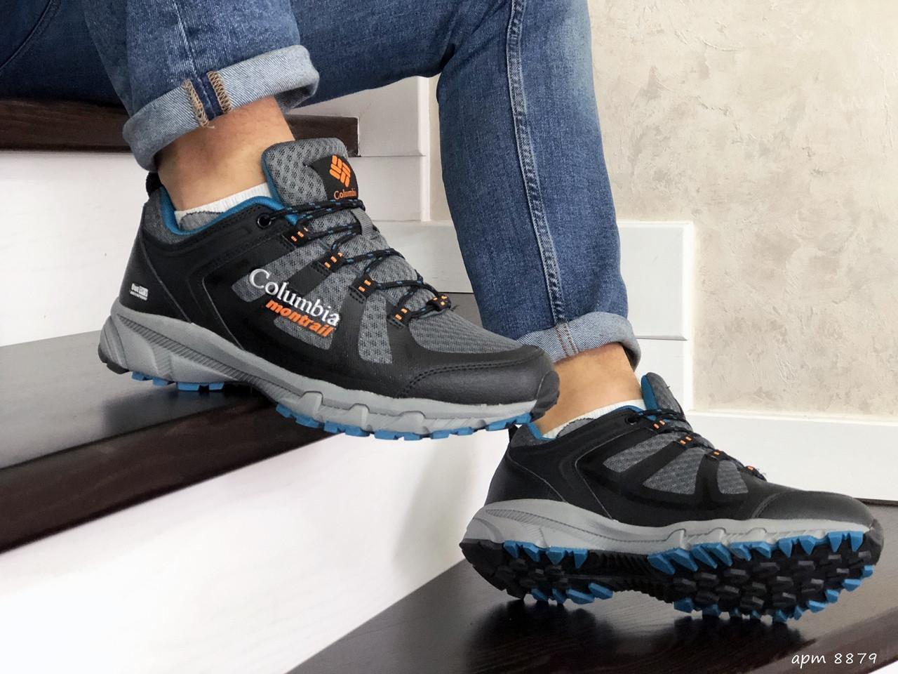 Мужские кроссовки Columbia Montrail (серо-черные с синим)