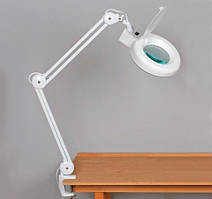 Лампа-лупа LED на струбцине (на зажиме для стола)