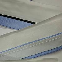 Корсажная лента для брюк. Ширина 6 см. Белая основа, черный кант и голубая сетка