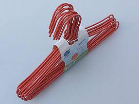Плечики детские  проволока в порошковой покраске красного  цвета, длина 29 см, в упаковке 10 штук, фото 3