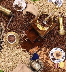 Клеенка ламинированная на кухонный стол Люкс, ароматы кофе