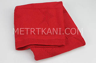 """В'язаний Плед """"Зірочка"""" червоного кольору, 100% бавовна 80/90 """"Зірочка"""" см №56-22"""