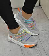 Серые женские кроссовки текстиль 37=24 см 38=24,5 см 39=25 см 40=25,5 см 41=26 см