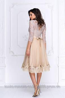 Коктейльное платье с пышной юбкой бежевого цвета M