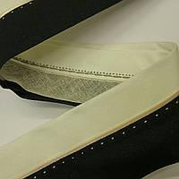 Корсажная лента для брюк. Ширина 6 см. Цвет молочный с черным. Бежевый кант и молочная прострочка.