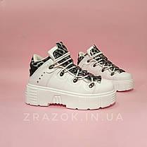 Розміри 38, 39 Білі високі черевики, кросівки кріпери на товстій підошві нью рок new rock жіночі, фото 2