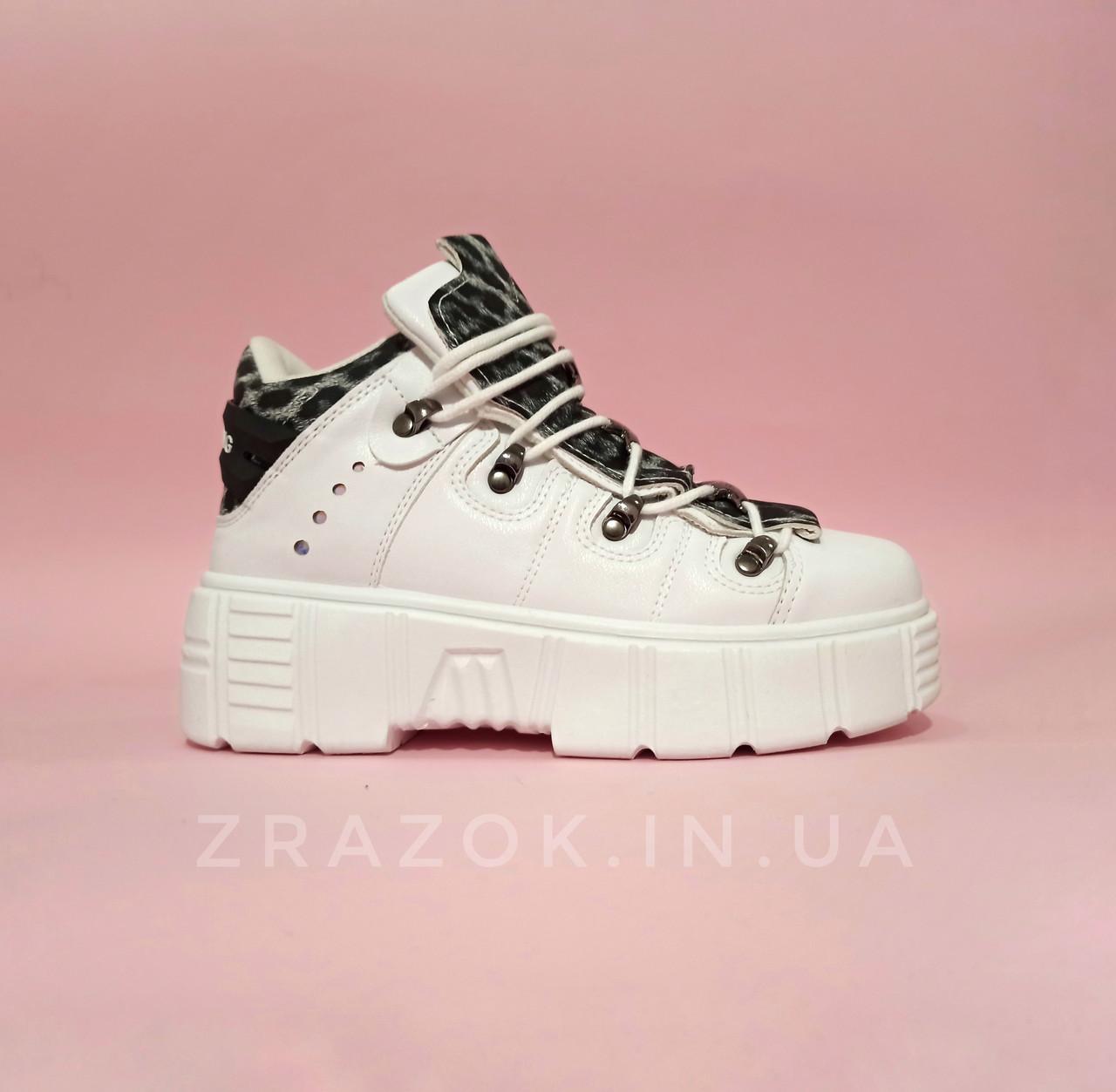 Розміри 38, 39 Білі високі черевики, кросівки кріпери на товстій підошві нью рок new rock жіночі