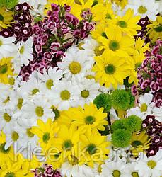 Клеёнка отрезная на плотной основе Люкс, яркие цветы