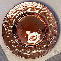 Набор 4 тарелок обеденных золотых из цветного стекла Роуз 32 см арт. HM0016