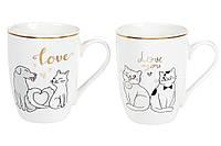 "Кружка фарфоровая ""Love cat"", 350мл, 2вида, набор 12 шт"