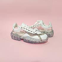 Кросівки Jimmy Choo diamond білі з прозорим підошвою прозорі кросівки джиммі Чу | репліка копія, фото 3