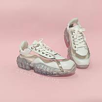 Кросівки Jimmy Choo diamond білі з прозорим підошвою прозорі кросівки джиммі Чу | репліка копія, фото 2