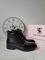 Классические кожаные женские полуботинки на шнуровке и молнии