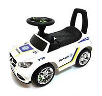 """Каталка-толокар 2-002-W-U - цвет белый """"Полиция"""" открывается капот, сиденье, светятся фары, муз.руль"""
