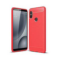 Чехол Carbon для Xiaomi Redmi Note 5 / Note 5 Pro  Global бампер Red УЦЕНКА