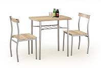 Столовый комплект  LANCE дуб сонома ( стол+2 кресла) (Halmar)