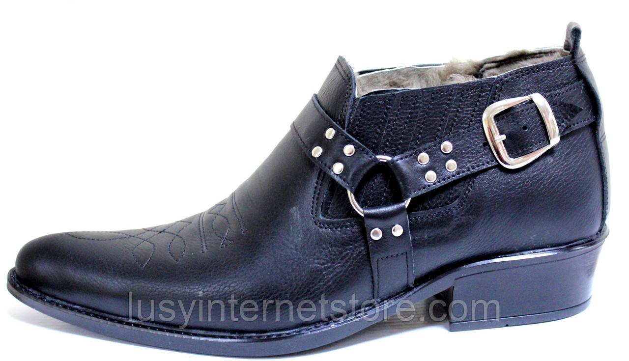 Туфли зимние мужские кожаные, казаки от производителя ЛЕ102
