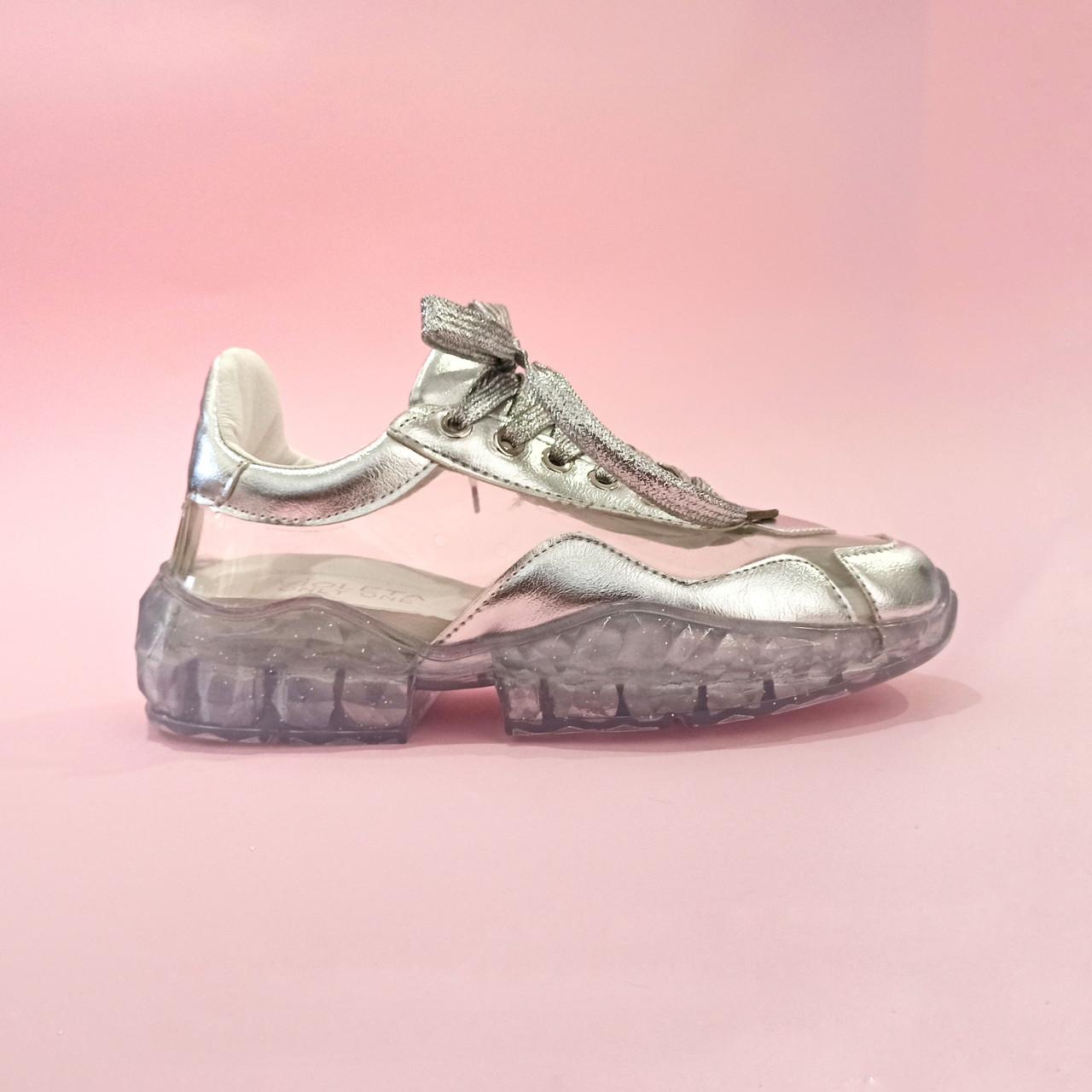 Violeta / Кроссовки Jimmy Choo diamond серебряные с прозрачной подошвой прозрачные кроссовки джимми Чу   реплика копия