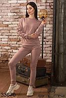 Спортивный женский костюм бежевый брючный (размеры S M L)