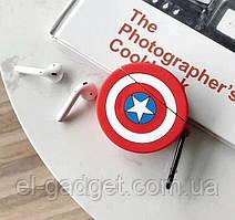 Чехол футляр для наушников AirPods Капитан Америка силиконовый