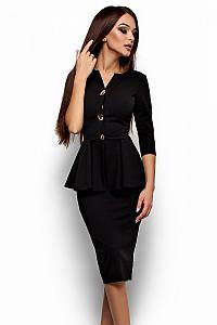 (S, M, L, XL) Стильне офісне чорне плаття
