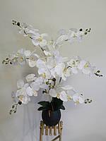 Орхидея искусственная на 7 веточек белая сатин