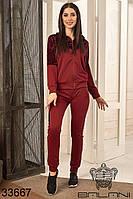 Спортивный женский костюм бордовый брючный (размеры S M L)