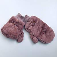 Женские зимние теплые варежки Меховые
