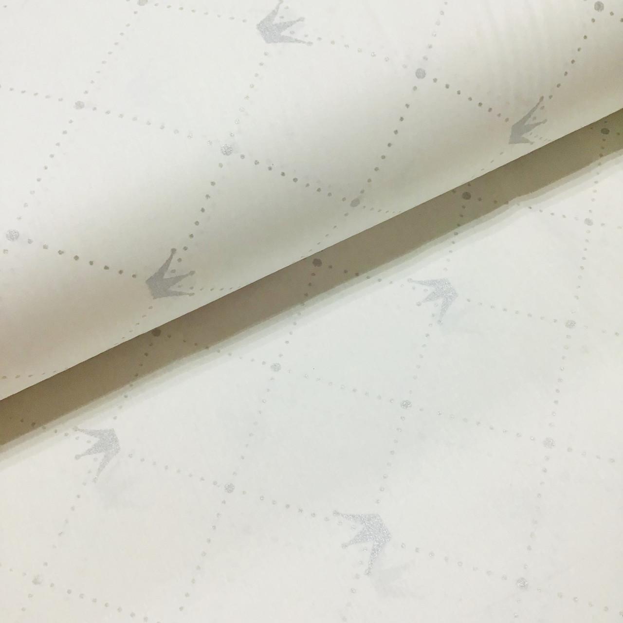 Ткань поплин короны с точечками серые на белом (ТУРЦИЯ шир. 2,4 м) №33-157 ОТРЕЗ (0,95*2,4) УЦЕНКА