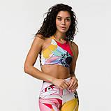 Спортивний костюм жіночий для фітнесу Квіти. Комплект лосини і топ для йоги, спорту, тренувань, розмір S, фото 2